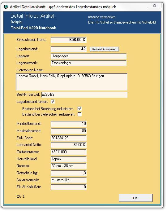 ERP-Info im Rechnungsprogramm SC4